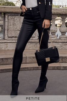 Lipsy Petite Kate Coated Two Zip Jeans