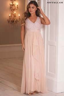 Sistaglam Embroidered Beaded Maxi Dress