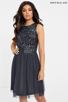 Sistaglam Short Prom 2 In 1 Dress With Beaded Top And Key Hole Back