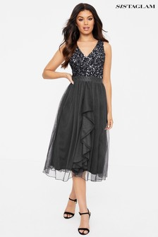 Sistaglam V neck Midi Dress With Sequin Top