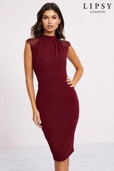 Lipsy High Neck Lace Bodycon Dress
