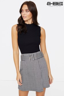 4th And Reckless Dogtooth Print Mini Skirt