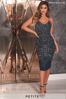 Sistaglam Petite Embellishment Beaded Midi Dress