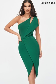 Lavish Alice One-Shoulder Cutout Midi Wrap Dress