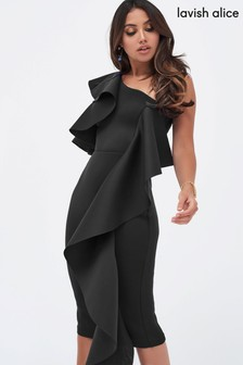 Lavish Alice Ruffle Cold Shoulder Scuba Midi Dress
