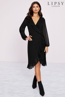 Lipsy Pleated Frill Wrap Dress