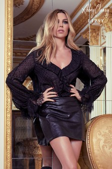 Abbey Clancy x Lipsy Lurex Dobby Frill Blouse