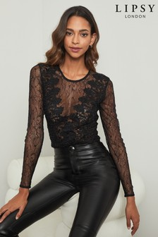Abbey Clancy x Lipsy Lace Long Sleeve Body