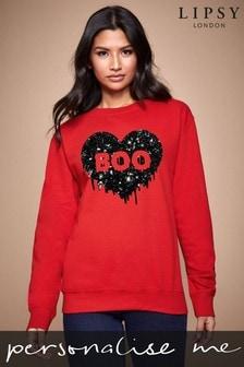 Personalised Lipsy Halloween Boo Heart Women's Sweatshirt By Instajunction
