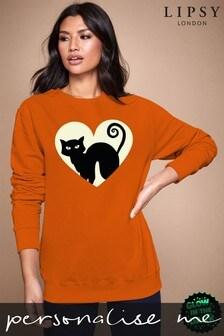 Personalised Lipsy Halloween Black Cat Women's Sweatshirt By Instajunction