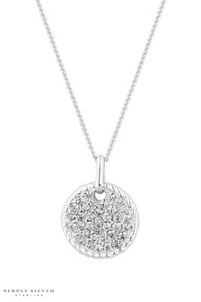 Simply Silver Sterling Silver Pave Disc Pendant