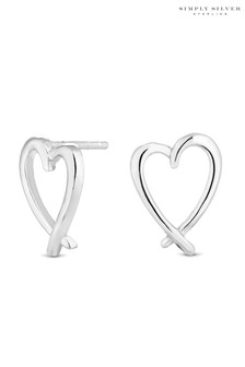 Simply Silver Sterling Heart Stud Earrings