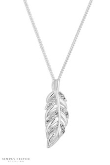 Simply Silver Sterling Silver Feather Pendant
