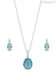 Simply Silver Sterling Silver Blue Oval Set