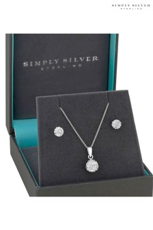 Simply Silver Sterling Silver Pave Ball Set