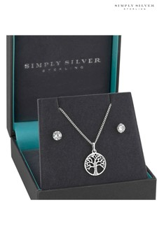 Simply Silver Sterling Silver Tree Of Life Set