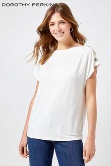 Dorothy Perkins Button Shoulder T-Shirt