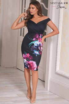 Sistaglam Loves Jessica Floral Bodycon Dress