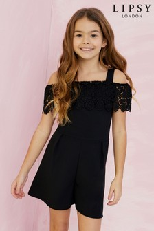 Lipsy Girl Lace Frill Playsuit
