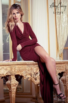 Abbey Clancy x Lipsy Glitter Cowl Maxi Dress