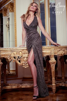 Abbey Clancy x Lipsy Glitter Halterneck Maxi Dress