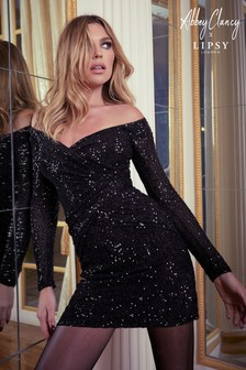 Abbey Clancy x Lipsy Sequin Bardot Mini Dress