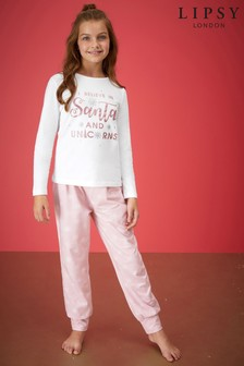 Lipsy Girl Long Sleeve Printed PJ Set