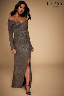 Lipsy Glitter Bardot Maxi Dress