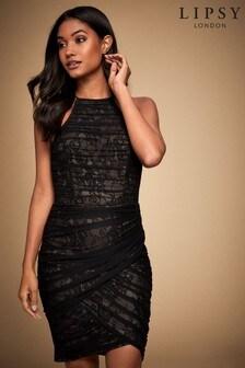 Lipsy Lace Mesh Ruched Halterneck Dress