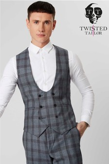 Twisted Tailor Check Suit Waistcoat