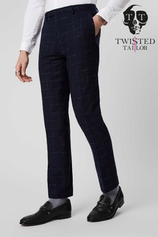 Twisted Tailor Check Suit Trousers