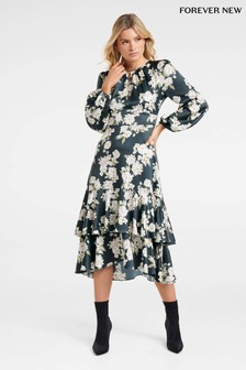 Forever New Scarf Print Midi Dress