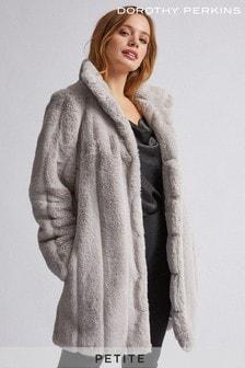Dorothy Perkins Petite Longline Belted Faux Fur Coat