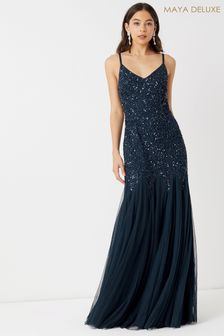 Maya Sequin Fishtail Maxi Dress
