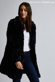 Dorothy Perkins Long Line Squiggle Midnight Coat