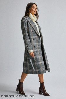 Dorothy Perkins Check Wrap Trench Coat