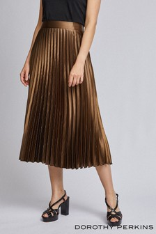 Dorothy Perkins Satin Pleated Midi Skirt