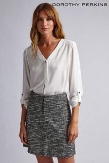 Dorothy Perkins Salt & Pepper Zip Mini Skirt