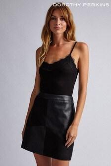 Dorothy Perkins Faux Fur Suede Patch Mini Skirt