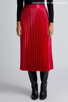 Dorothy Perkins Satin Pleated Midi Skirt