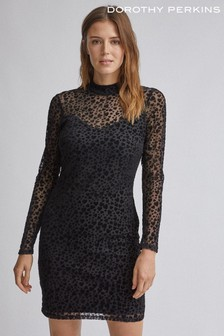Dorothy Perkins High Neck Long Sleeve Heart Mesh Bodycon Dress