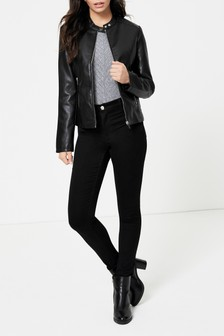 Dorothy Perkins Collarless Pu Jacket