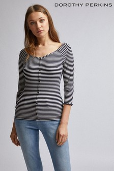 Dorothy Perkins Striped Button Detail Bardot Top