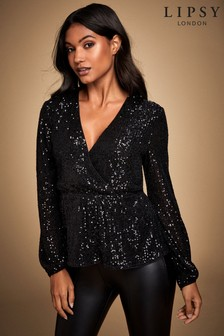 Lipsy Sequin Long Sleeve Blouse