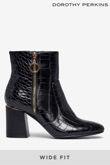 Dorothy Perkins Wide Fit Croc Side Zip Boot