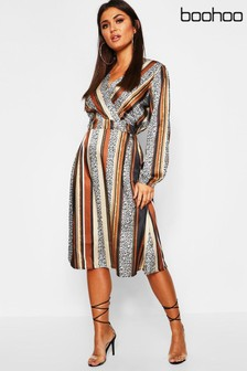 Boohoo Striped Button Front Midi Dress
