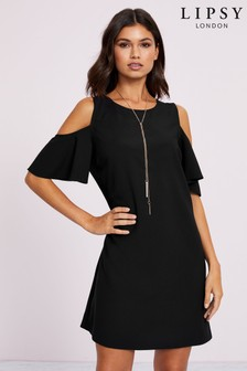 Lipsy Cold Shoulder Necklace Shift Dress