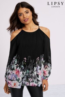 Lipsy Pleated Cold Shoulder Blouse