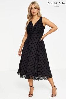 Scarlett & Jo Curve Spot Print Midi Dress