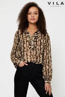 Vila Ruffle Pleated Leopard Print Blouse